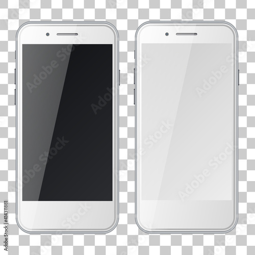 Smart phones with black and blank screens isolated on transparent background. #414311881