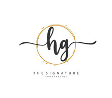HG Initial Letter Handwriting And Signature Logo. A Concept Handwriting Initial Logo With Template Element.