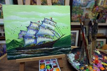 Original Oil Painting On Canvas. Sailboat , Boats ,ship . Modern Impressionism  ,  Palette , Paintbrush