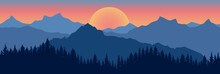 Beautiful Landscape. Silhouette Of Dark Blue Forest On Background Of Mountains And Sunset. Panoramic View. Vector Illustration.