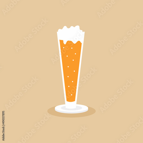 Fototapeta A glass of cold beer with foam icon beverage