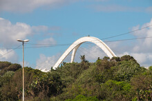 Arch Of The Moses Mabhiba Stadium With Green Vegetation