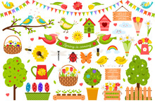 A Collection Of Spring Design Elements. Cute, Bright Birds, Plants, Flowers In A Flat Cartoon Style. Color Vector Illustration Isolated On A White Background