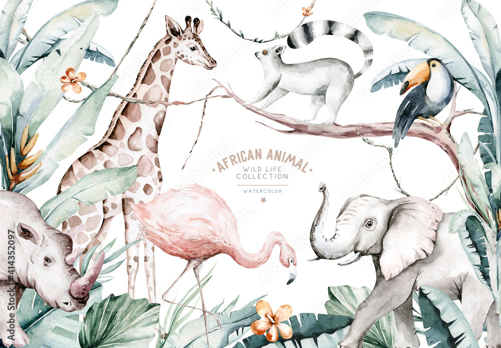 Fototapeta Watercolor illustration of African Animals: lemur, flamingo and giraffe, toucan and rhipo, rhino and elephant isolated white background. Safari savannah animals