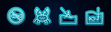 Set Line No Fishing, Crab, Fishing Float Water And Hook With. Glowing Neon Icon. Vector.