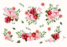 Red Pink Flower Arrangement Watercolor Collection