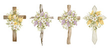 Watercolor Crosses With Flower Bouquets. Easter Catholic Religious Symbol. Orthodox Cross For Church And Holidays. Latin Symbol Of The Saint And Spring Floral Arrangement