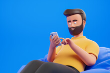 Portrait Handsome Cartoon Beard Character Man In Yellow T-shirt Relax At Bean Bag Armchair And Use Smartphone Over Blue Background. 3d Render Illustration