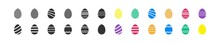 Easter Egg Set Black And Colorful Flat Icon. Vector Isolated