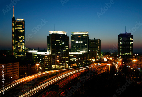 skyline city essen NRW germany at evening highway light streaks long exposure
