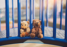 Two Lost Teddy Bear Lying On Metal Bridge At Playground In Gloomy Day, Lonely And Sad Face Brown Bear Doll Lied Down In The Park, Lost Toy Or Loneliness Concept, International Missing Children Day