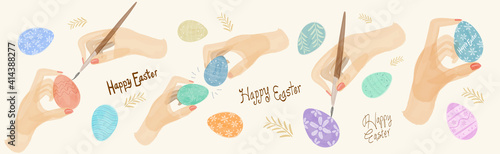 Obraz Easter cards, watercolor, vector. Set of vector illustrations for Easter holiday. Hands and brush, painting eggs for the Easter holiday. - fototapety do salonu