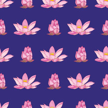 The Lotus Flowers Were Painted With A Brush On A Dark Purple Background. Vector Seamless Pattern