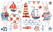 Nautical Vector Watercolor Baby Rabbit Sailor, Animal Cartoon Nursery Seaman Set. Cute Childish Character Collection, Aquarelle Illustration. Marine Elements, Lifebuoy, Anchor, Wave, Fish, Lighthouse