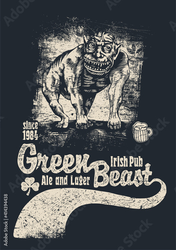 Retro Green Beast design for bar sign board or t-shirt print with good-humoured monster, vintage fonts and textures. vector illustration.  © Jumpingsack