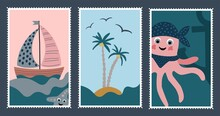 Postage Stamps In A Marine Theme. Octopus, Boat Children's Illustration. Stickers For Children. Vector Illustration