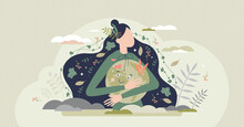 Mother Earth As Environmental Ecological And Green Planet Tiny Person Concept