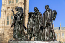 Burghers Of Calais Statue Unveiled In 1915 In Victoria Tower Gardens At The Houses Of Parliament  London England UK Which Is A Popular Tourist Travel Destination Landmark, Stock Photo Image