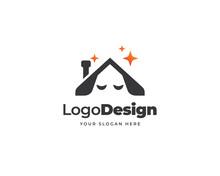 Sleeping Dog Logo Vector. Friendly Pet House Logo Design