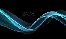 Vector Abstract Shiny Color Blue Wave Design Element On Dark Background. Science Design