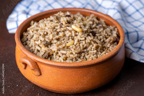 Traditional delicious Turkish food; rice pilaf with pine nuts and currants (Turkish name; ic pilav or pilaf) © Esin Deniz