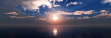 Seascape, Clouds Over The Sea, Ocean Landscape, Light Over Water, 3D Rendering