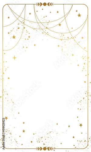 Stampa su Tela Frame with white magic background, gold stars and space decor with copy space