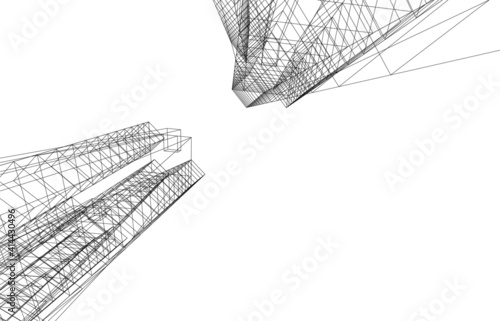 3d view of modern building  architectural vector illustration Fototapeta