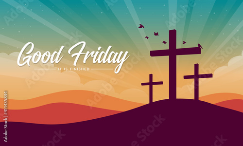 Leinwand Poster good friday, it is finished text banner with Cross crucifix on hill and bird fly