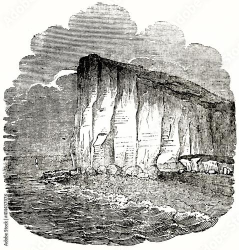 Canvas Print rocky cliffs overlooking the sea near Fecamps, Alabaster Coast, Haute-Normandie, France