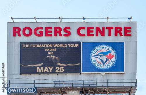 Fototapeta premium Outfront advertisement billboard in Rogers Centre, Toronto, Canada