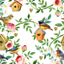 Seamless Pattern With Blossom Garden Plants And Birds