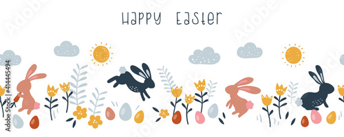 Lovely hand drawn Easter horizontal seamless pattern, doodle bunnies, eggs and flowers, great for banners, wallpapers, wrapping, textiles - vector design