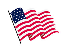 Waving Flag Of The United States Of America. Illustration Of Wavy American Flag. National Symbol, American Flag On White Background - Illustration