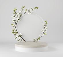 Minimal White Podium Display For Cosmetic Product Presentation, Pedestal Or Platform Background