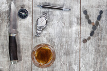 Men's Items And Accessories : Knife, Whiskey Glass, Stylish Pen, Watch And Compass
