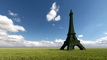 Gree Leaves Of Eiffel Tower Plant  In Blue Sky