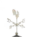 White Rooster Weather Vane Show The Wind Direction On White Sky Background