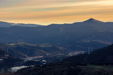 View Of The City Of Bilbao From A Mount At Sunset
