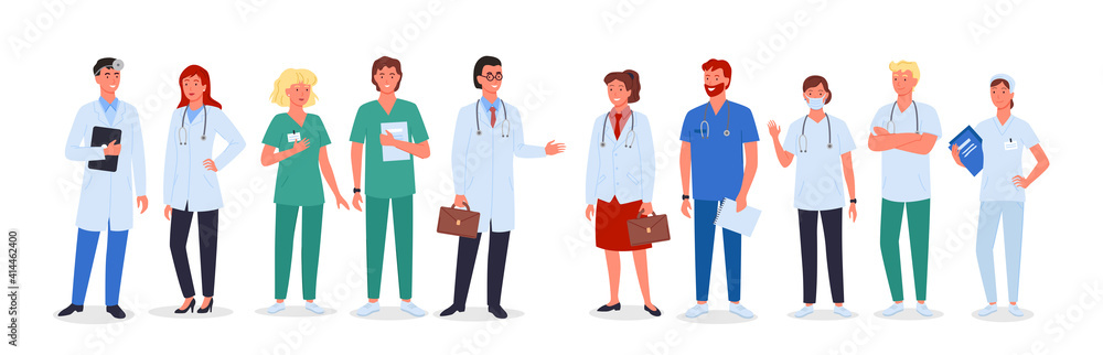 Fototapeta Doctor nurse team set, medic workers in uniform and medical masks standing collection