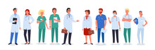 Doctor Nurse Team Set, Medic Workers In Uniform And Medical Masks Standing Collection