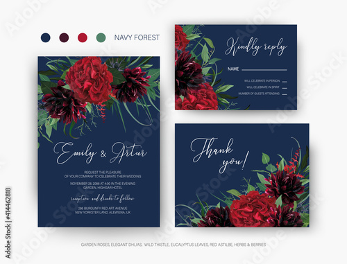 Fotomural Burgundy red and greenery floral wedding vector set