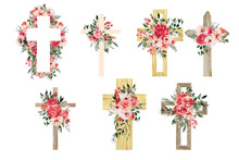 Watercolor Flower Cross, Wood Cross, Baptism, Floral Clipart, First Communion, Holy Spirit, Florals Arrangements, Easter Cross