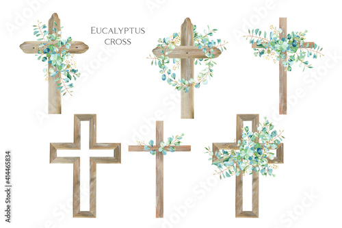 Fotografía Watercolor Flower Cross, Wood Cross, Baptism, Floral Clipart, First Communion, H
