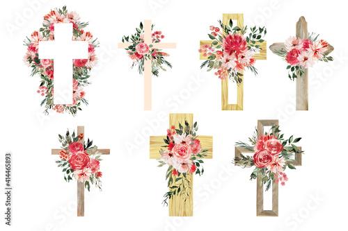 Fototapeta Watercolor Flower Cross, Wood Cross, Baptism, Floral Clipart, First Communion, H