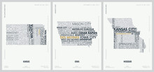 Typography Composition Of City Names, Silhouettes Maps Of The States Of America, Vector Detailed Posters, Division West North Central - Kansas, Iowa, Missouri - Set 6 Of 17
