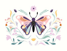 Floral Butterfly Isolated On White, Floral Poster, Banner, Wall Art, Modern Design
