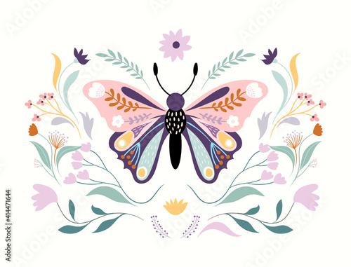 Fototapeta Floral butterfly isolated on white, floral poster, banner, wall art, modern design obraz