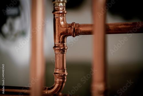 Obraz na płótnie New shiny copper pipework