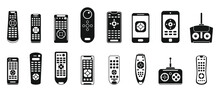 Tv Remote Control Icons Set. Simple Set Of Tv Remote Control Vector Icons For Web Design On White Background